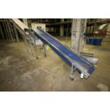 "Lot 29 - S/S Incline Conveyor, Aprox. 11' L x 18"" W Interlock Belt, Mounted on S/S Portable Frame,"