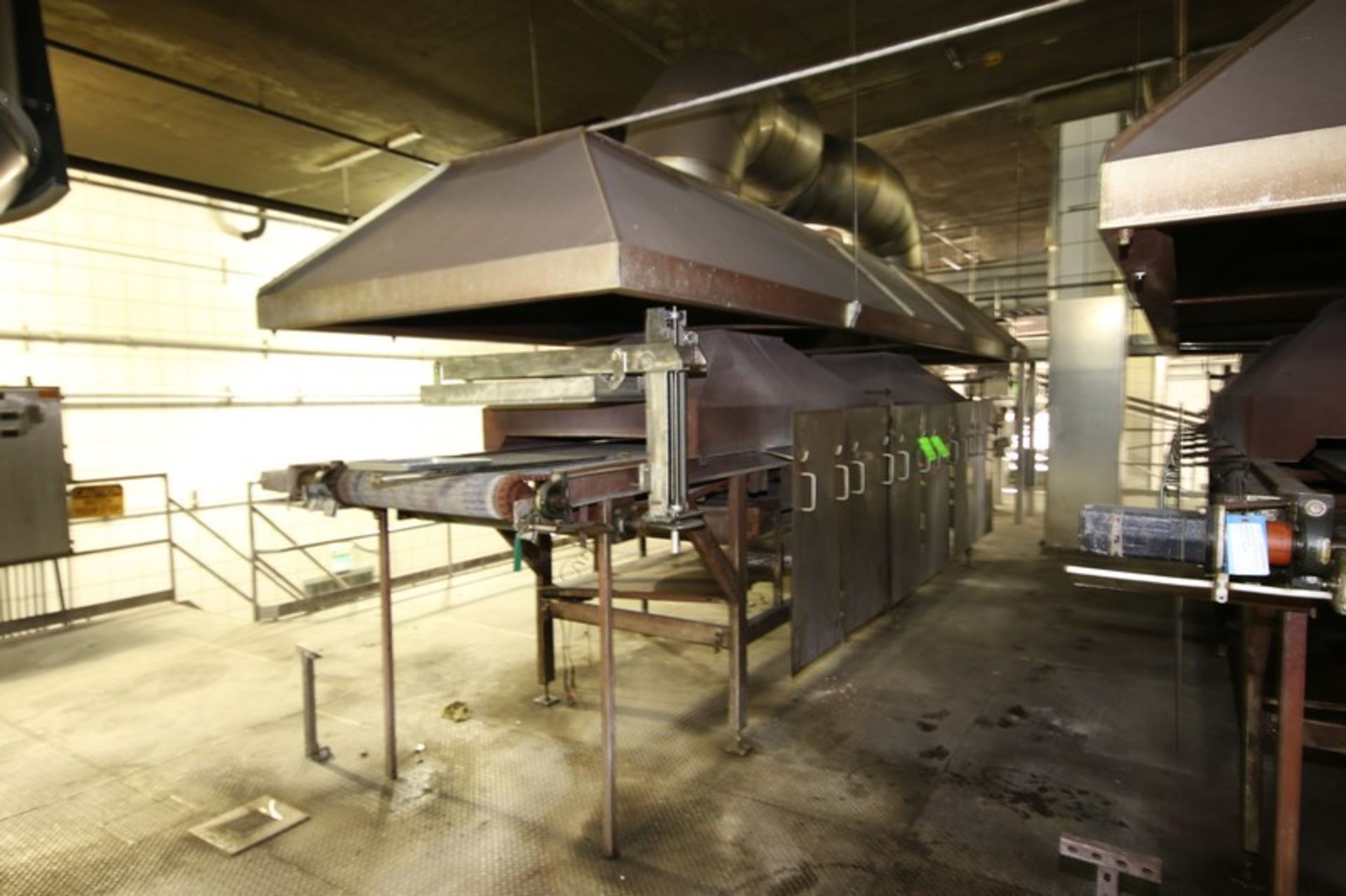 "Lot 21 - Natural Gas Fire Roaster #6, with Aprox. 33"" W Belt, Includes S/S Exhaust Hood, Overall Dims.:"