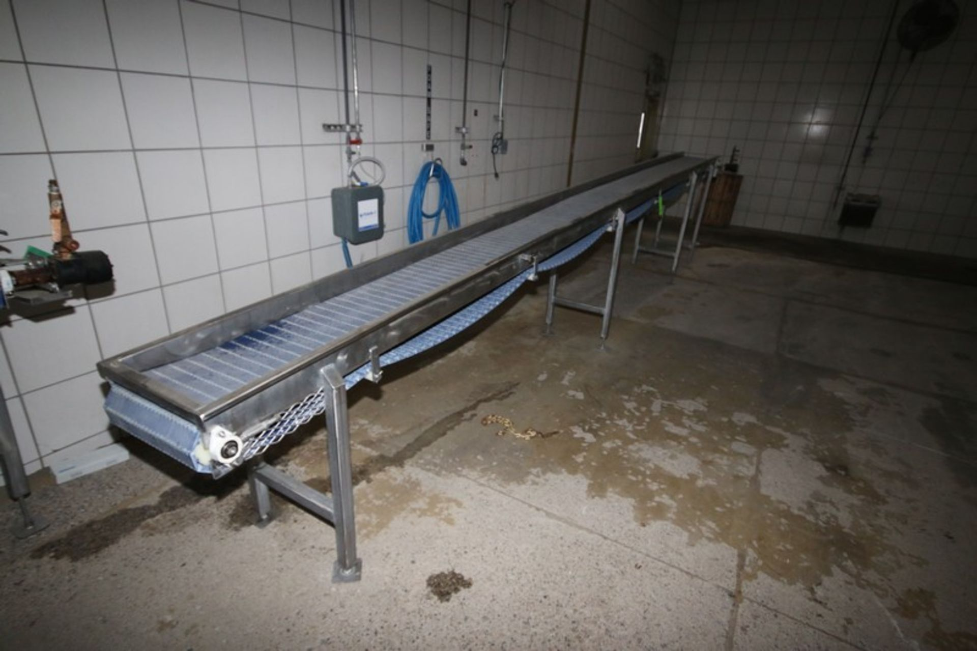 "Lot 37 - S/S Conveyor with S/S Walls, Aprox. 23' L x 16"" W Belt, Hydraulic Operated with S/S Legs"