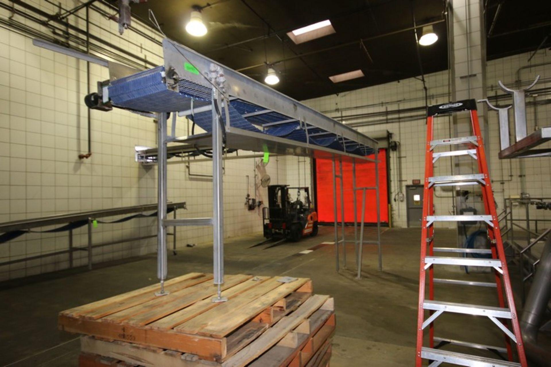 "Lot 39 - S/S Overhead Conveyor, Aprox. 23' L x 18"" W Belt, S/S Legs & Walls, Hydraulic Operated"