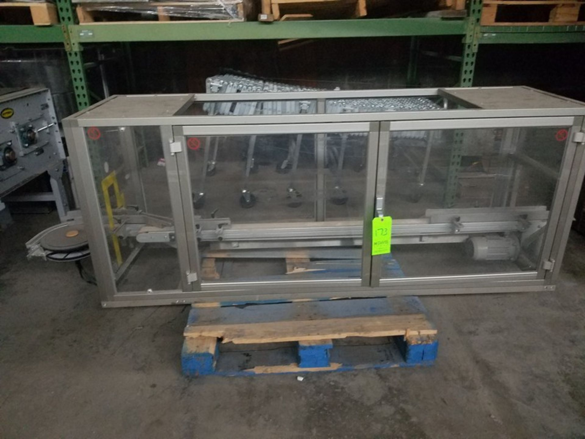 """Lot 173 - Enclosed Plexi-Glass Conveyor, Aprox. 84"""" L x 2-1/2"""" W Conv. Belt with Drive, with Double Plexi-"""