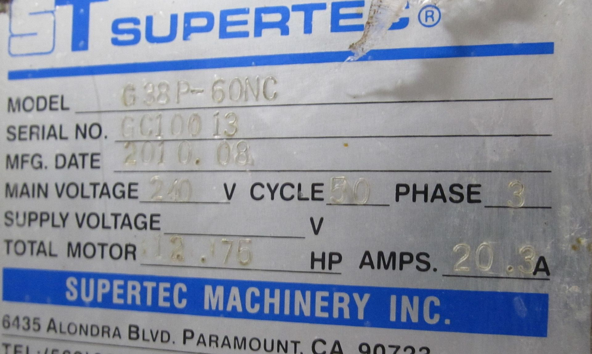 """Lot 23 - 15"""" x 24"""" Supertec G38P-60NC Programmable Universal Cylindrical Grinder, touch screen control"""