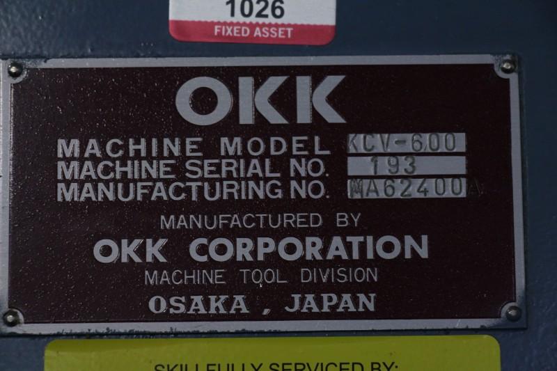 "Lot 3 - OKK KCV600 – 20L CNC Vertical Machining Center, Mitsubishi Neomatic control, 80"" x 25"" x 25"""