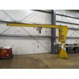 Coffing 1/2 Ton Jib Crane, Coffing Hoist, 10' Column and 16' Arm