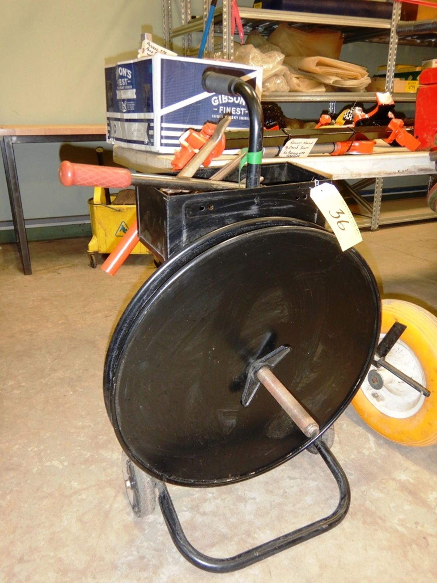 Lot 36 - BLACK BANDING CART W/ BANDING TOOLS