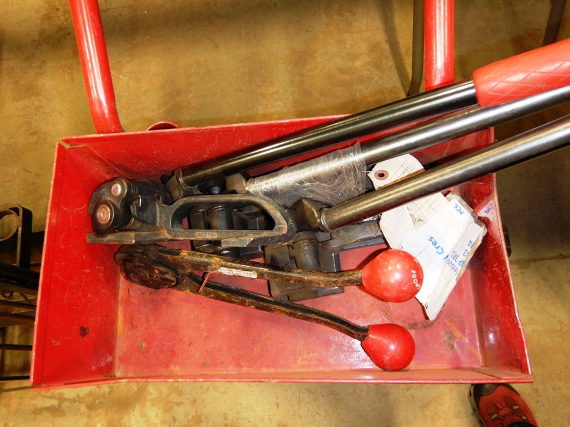 Lot 37 - RED BANDING CART W/ BANDING TOOLS