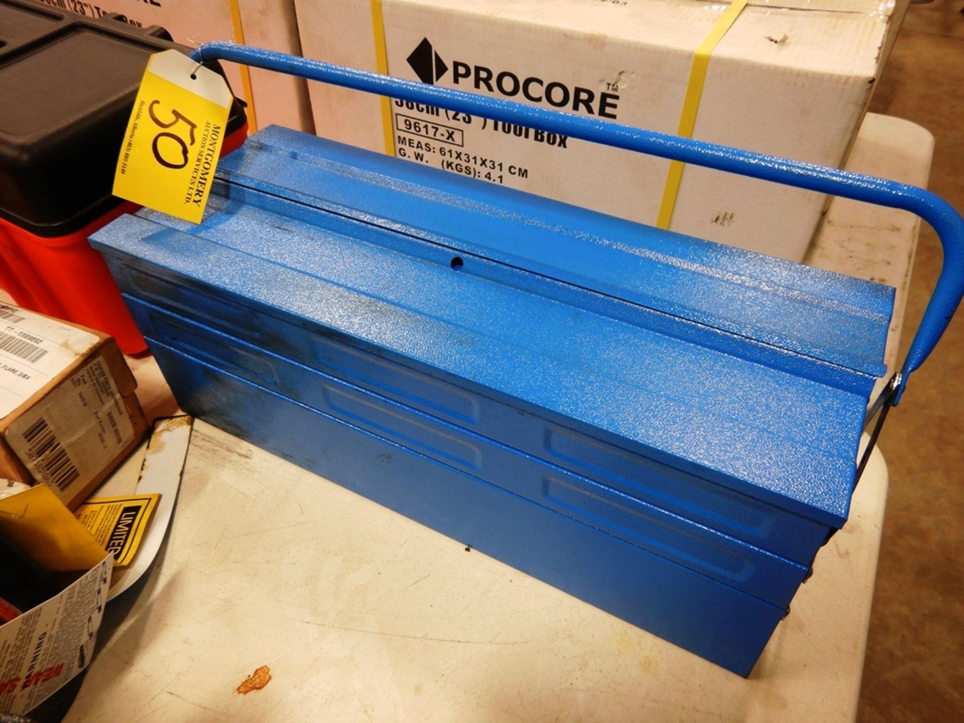 Lot 50 - SOILMEC METAL TOOL BOX W/ CONTENTS