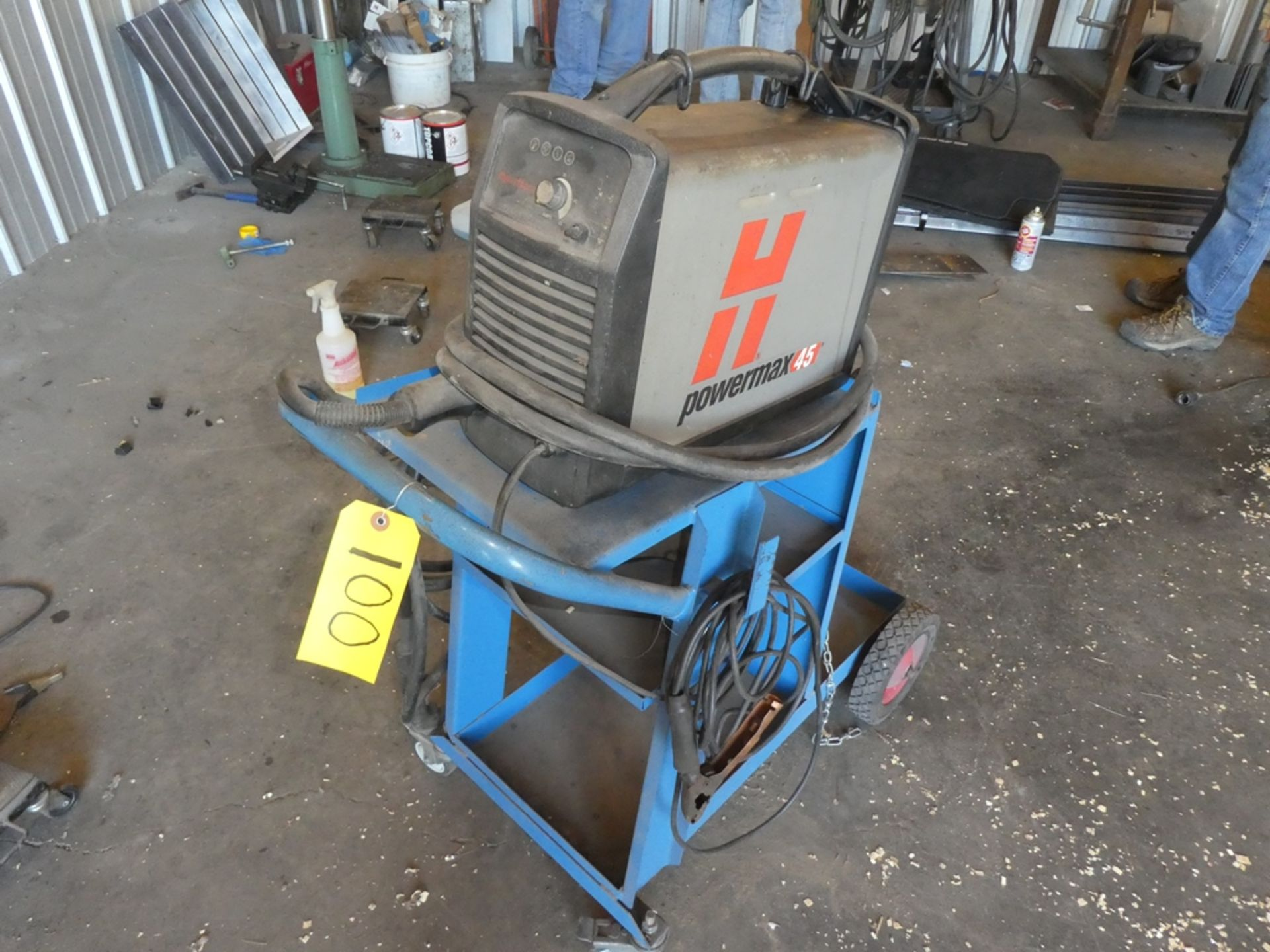 Lot 100 - HYPER THERM POWER MAX 45 PLASMA CUTTER W/ CART S/N 454837