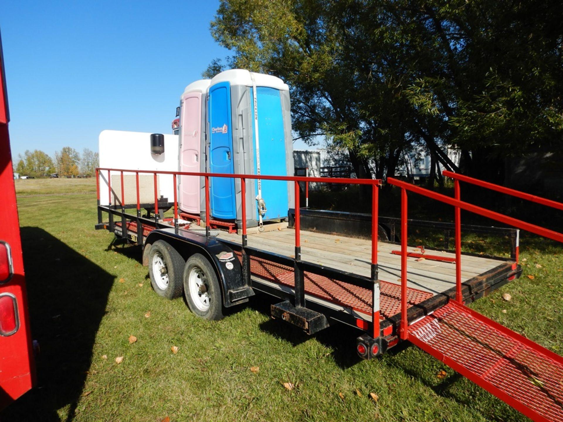 Lot 3 - 2011 BIG TEX 18' FLAT DECK T/A CAR TRAILER RIGGED W/2-PORTA POTTIES M # 50LA-18 5000LB GVWRS/N