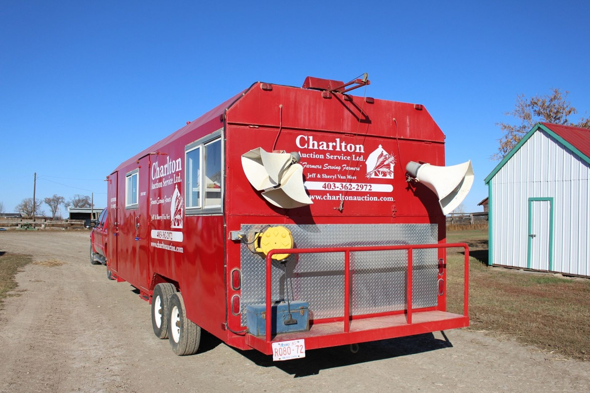 Lot 1 - 2002 SHOP BUILT 24' T/A 5W AUCTION OFFICE TRAILER W/LIGHTS, HEATER, BATHROOM & AUCTION/BOOTH