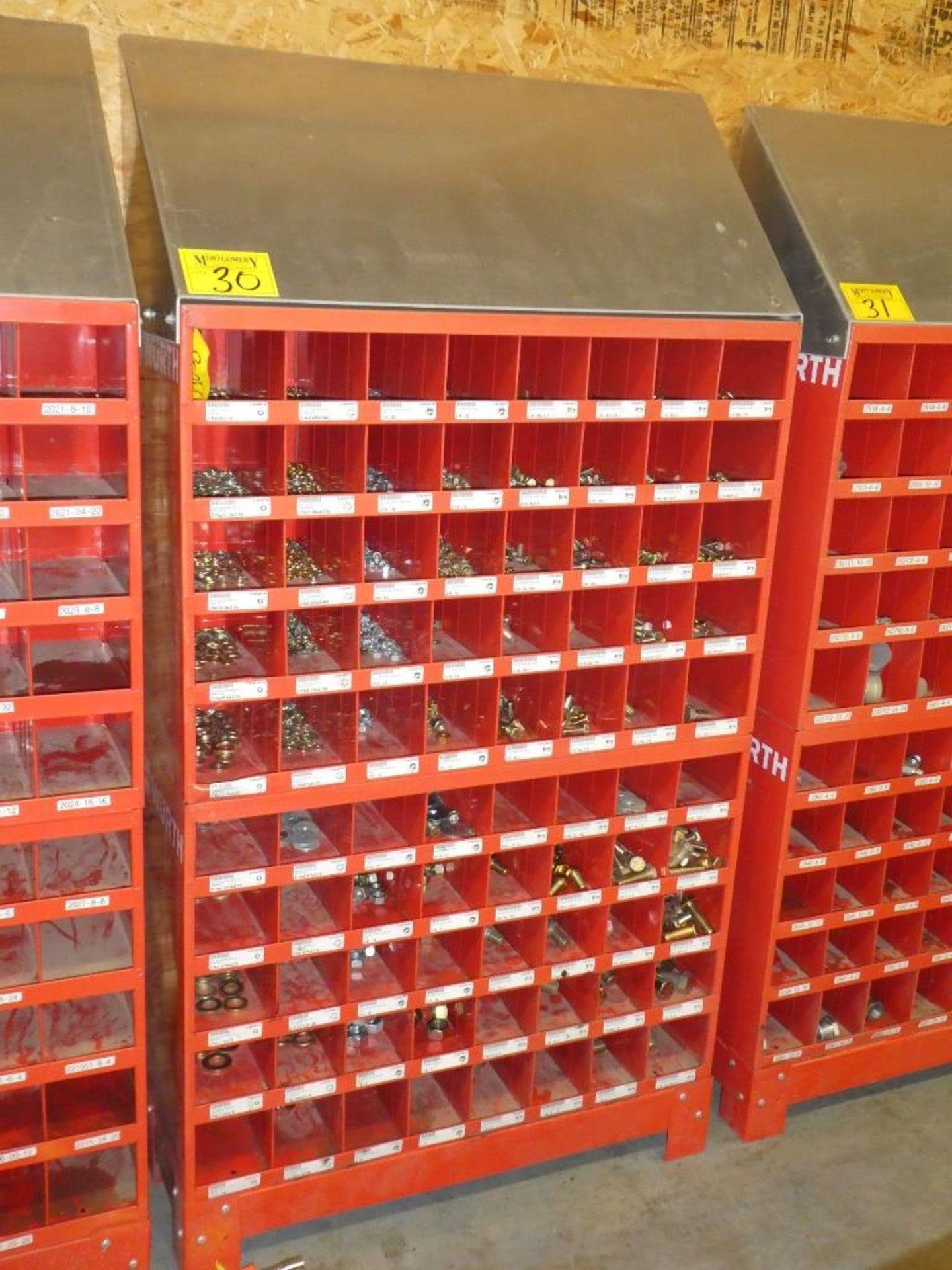 Lot 30 - 2-WURTH 40 COMPARTMENT BOLT BINS W/ STAND & GR. 8 HARDWARE SAE