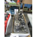 LOT TO INCLUDE: (10) 40T COLLET CHUCKS, MISC. BORING HEAD ATTACHMENTS, CUTTING TOOLS, COLLET CHUCK