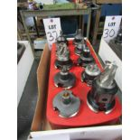 LOT TO INCLUDE: (10) 40T COLLET CHUCKS, MISC. CUTTING TOOLS, COLLET ORGANIZER