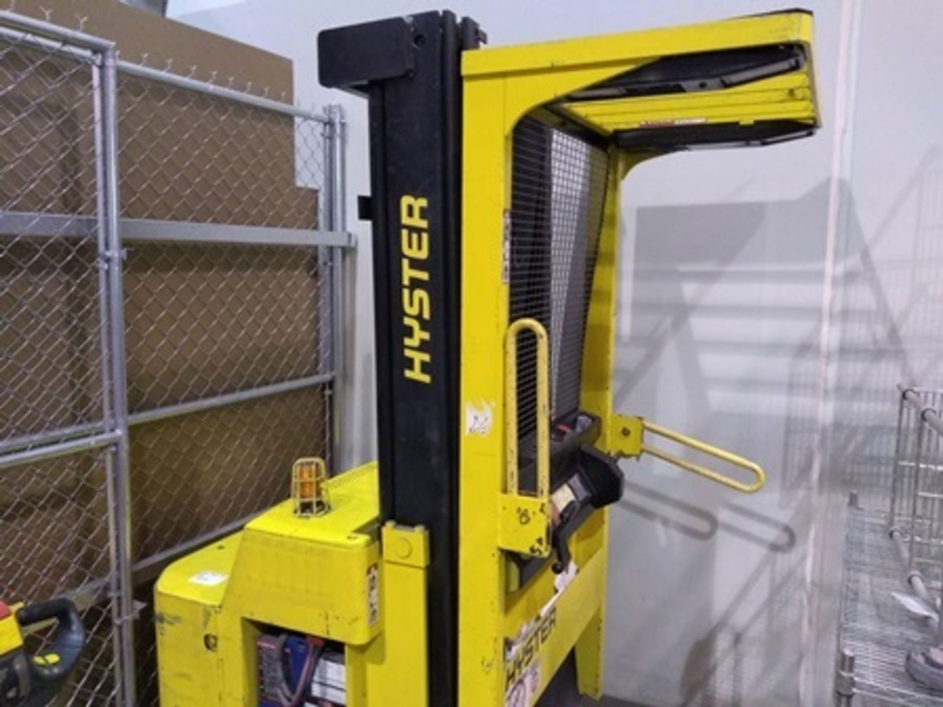 Lot 32 - Hyster 3,300 pounds, R30ES stand-up forklift, serial number B174H02269R. Max height 16 ft., inc …