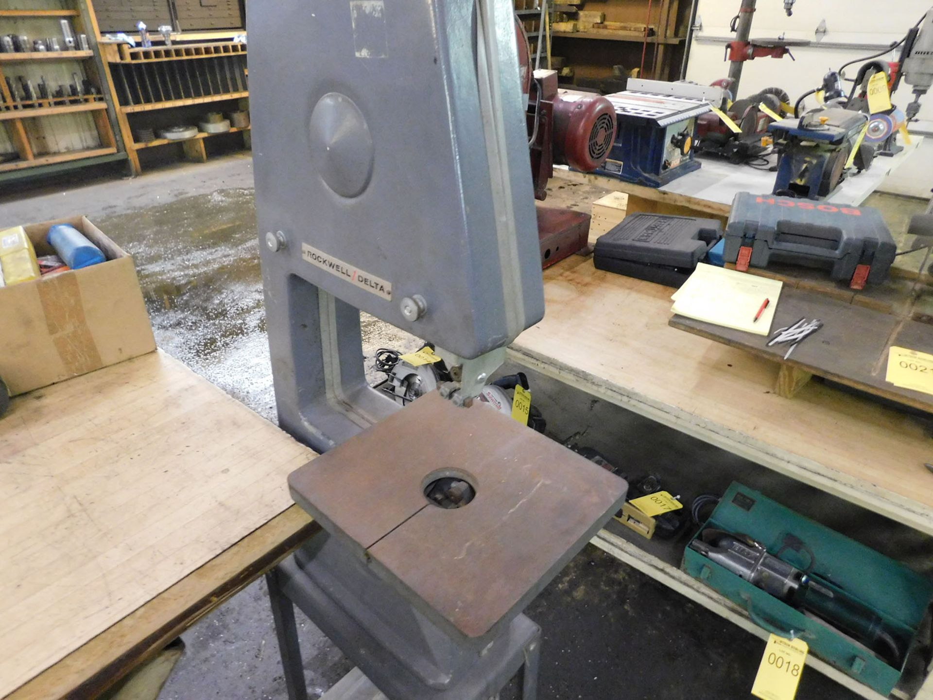 Lot 20 - ROCKWELL DELTA BANDSAW ON STAND; SINGLE PHASE