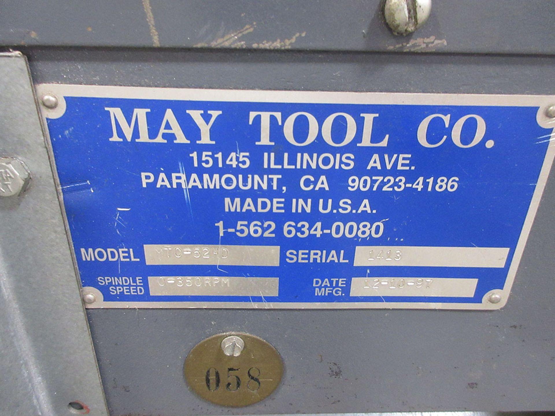 Lot 82 - 1997 MAY TOOL CIRCLE SHEAR; MODEL MTC-52HD, S/N 1413, 0-350 RPM, 3'' THROAT, MOTOR CONTROL ***