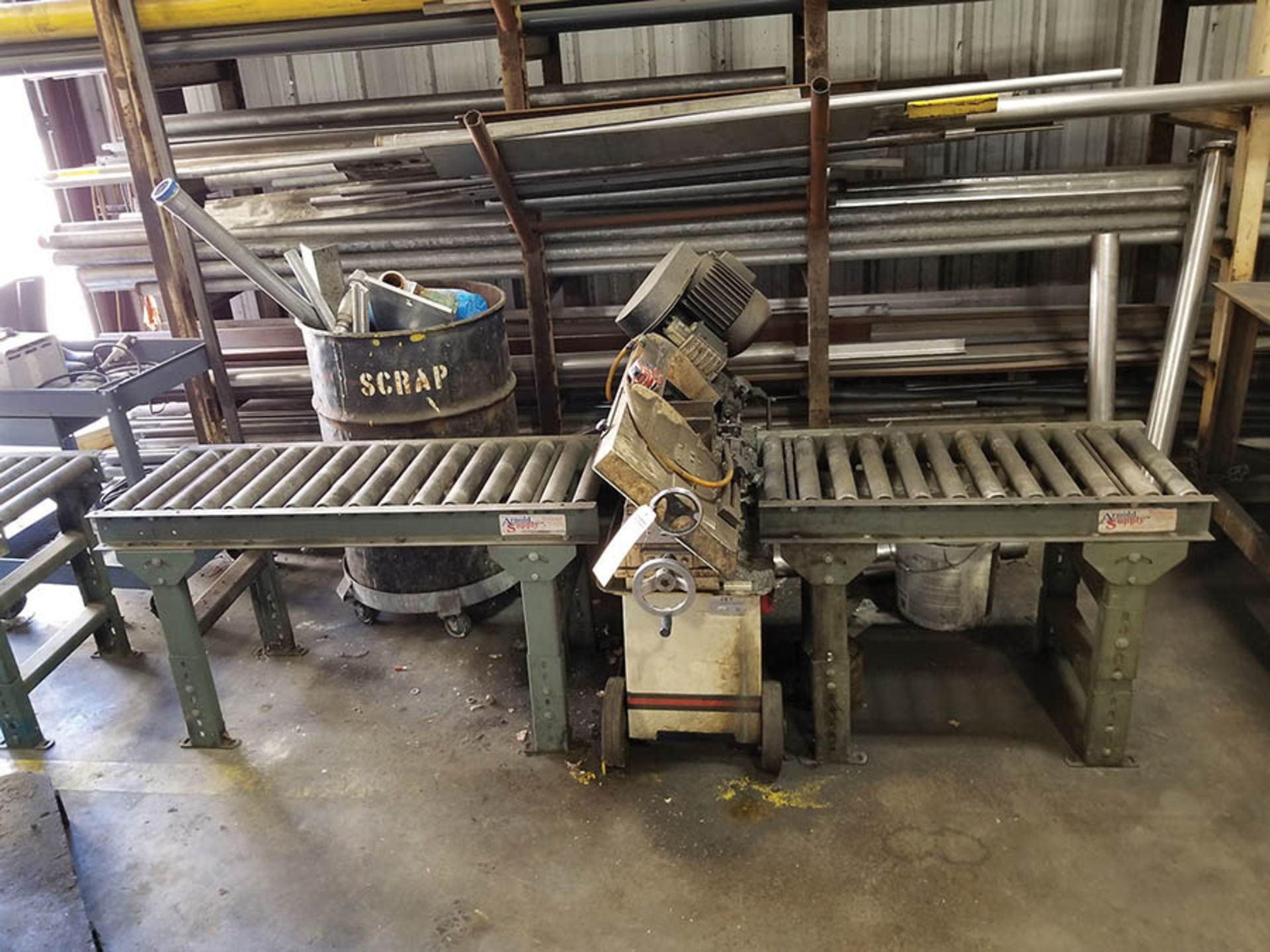Lot 15 - JET 7'' X 12'' HORIZONTAL BAND SAW, MODEL J-3410, SINGLE MATERIAL CLAMP, 3-SECTION OF ROLLER
