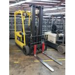 """2008 HYSTER 40AC 3,700-LB. ELECTRIC FORKLIFT, CENTER REAR DUAL SOLID TIRES, 198""""/88"""" 3-STAGE"""