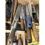 BOX OF LARGE HANDLE FILES, WOOD, AND PLASTIC HANDLES, ASSORTED SIZES