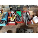 QUANTITY OF TOOL POST CUTTERS AND CUTTER ARMS