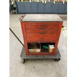 3-DRAWER TOOL BOX WITH LARGE HARDWARE QUANTITY ON ROLLING PLATFORM CART