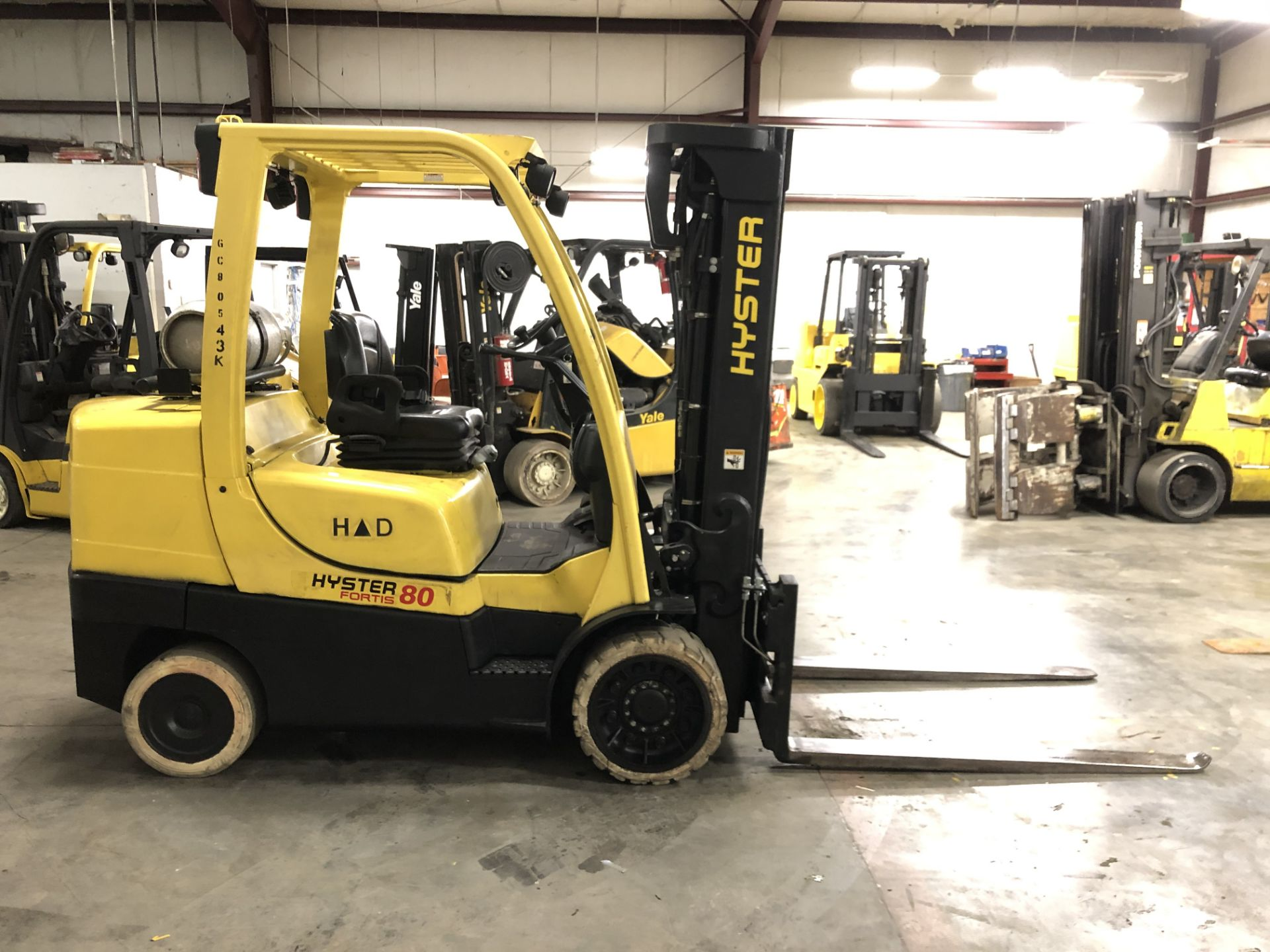 "Lot 6A - 2012 HYSTER 8,000-LB, MODEL: S80FT, LPG, SOLID TIRES,185"" RAISED/92"" LOWERED 3-STAGE MAST, 9,101 HRS"