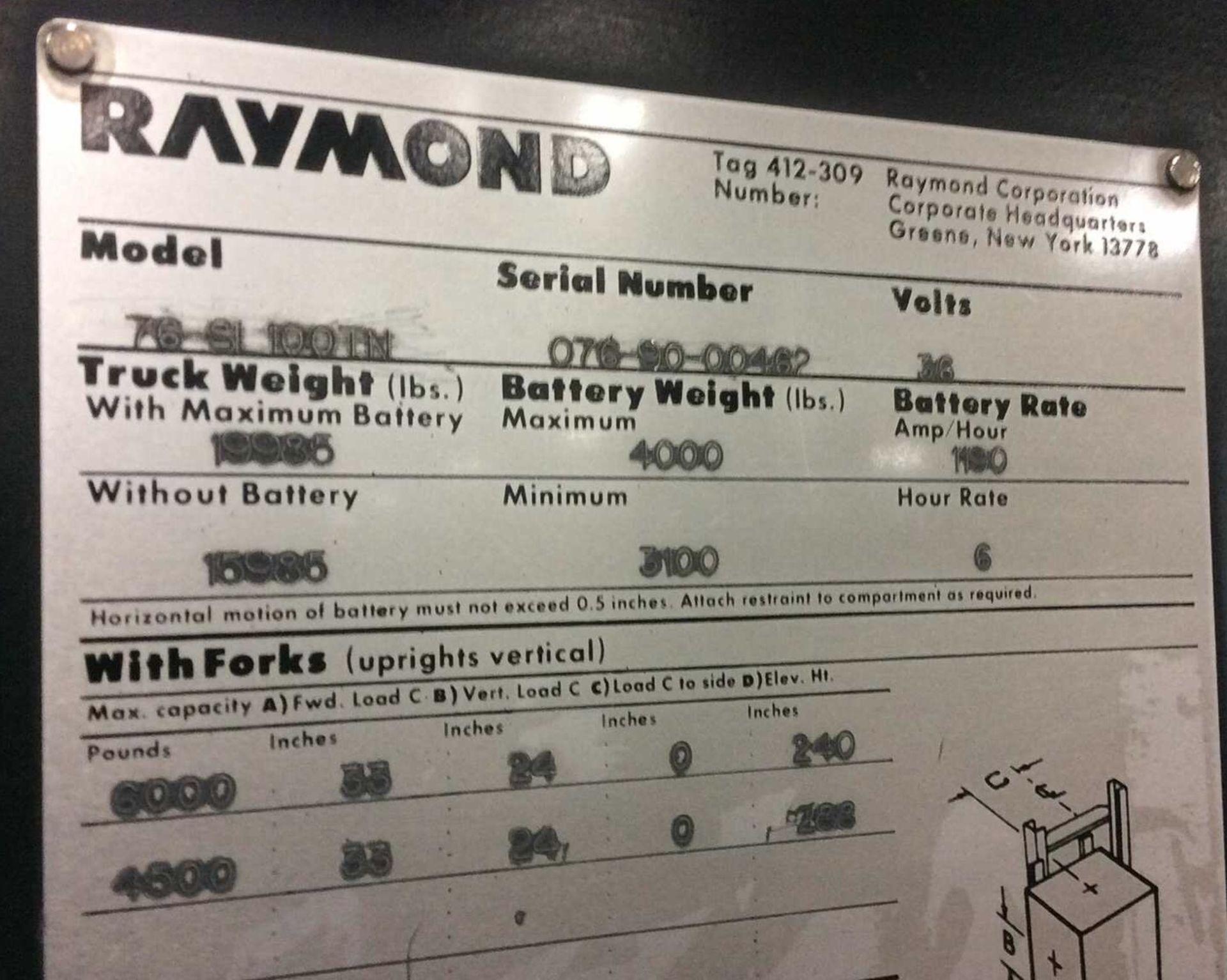 Lot 36 - RAYMOND 6,000-LB CAP SIDE LOADING FORKLIFT MODEL 76-SL100TN 6253 HRS *LOCATED IN MI*