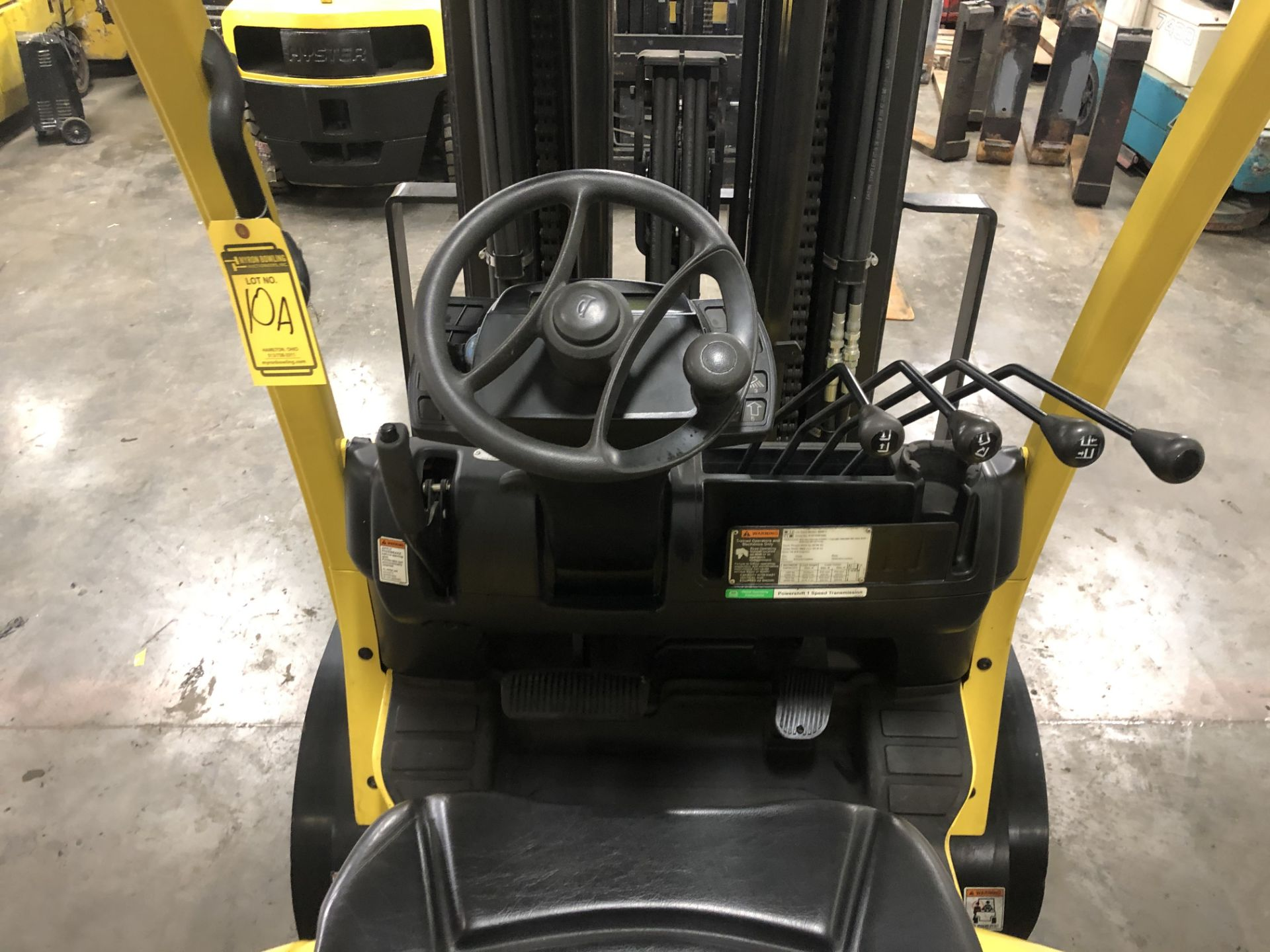 Lot 10A - 2013 HYSTER 5,000-lb., Mod: S50FT, LPG, Solid Tires, 4-Stage Mast, Sideshift, 3,820 Hours