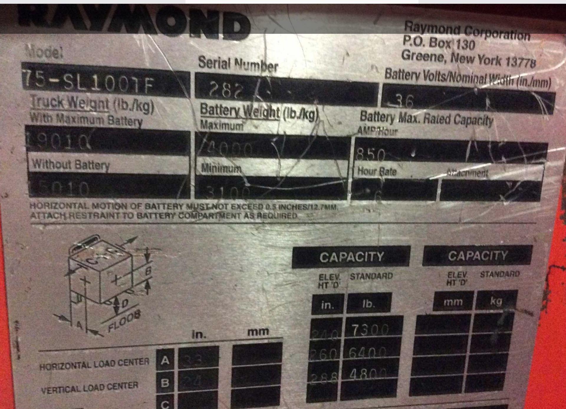 Lot 35 - RAYMOND 7,000-LB. CAP SIDE LOADING FORKLIFT MODEL 75-SC100TF *LOCATED IN MI*