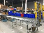 Lot 52 - Spring Assisted Roller Conveyor & Gate, Approx 20ft OA Length, 15in Wide Rol | Rig Fee: $150