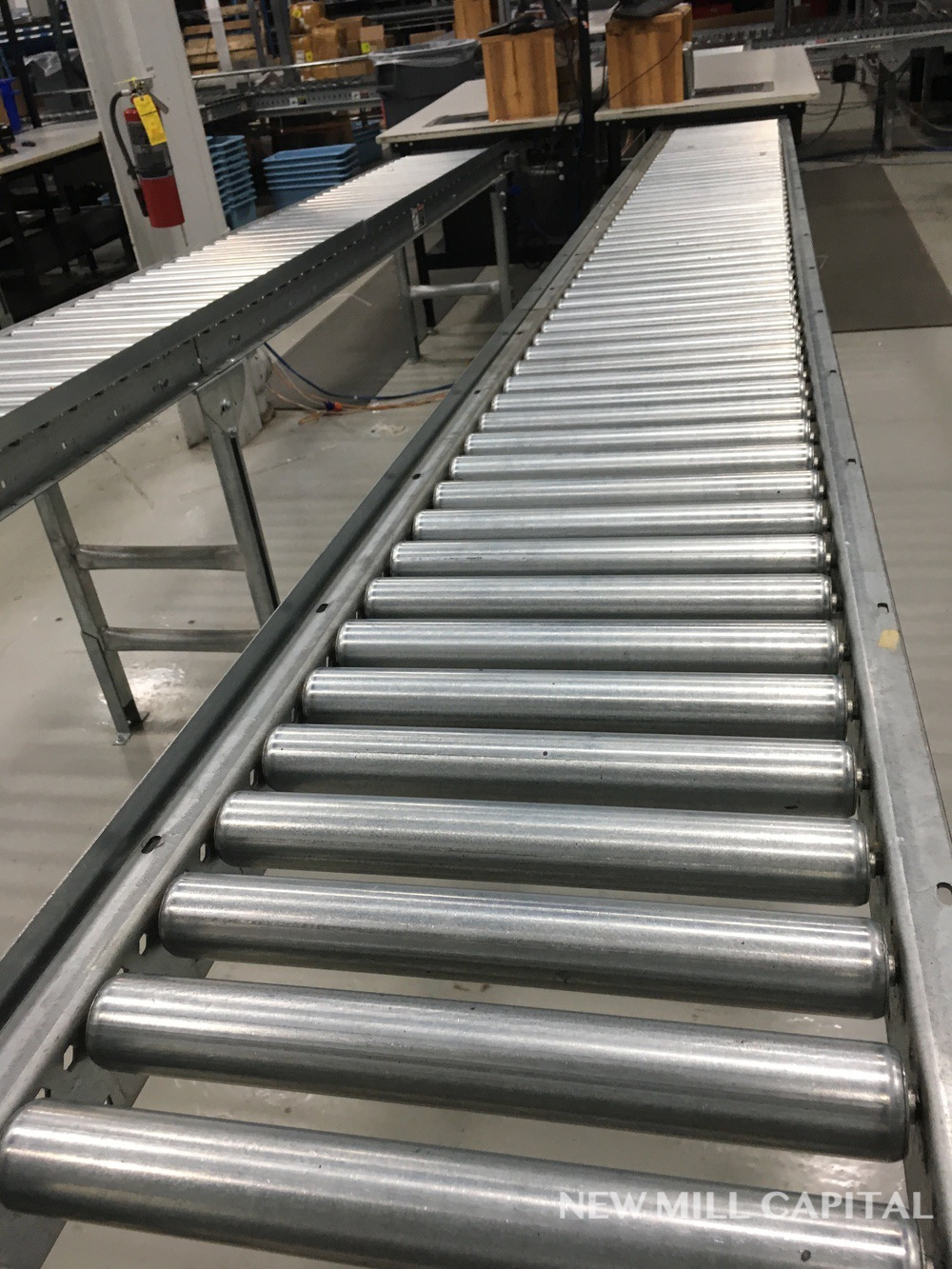 Lot 61 - Spring Assisted Roller Conveyor & Gate, Approx 20ft OA Length, 15in Wide Rol | Rig Fee: $150