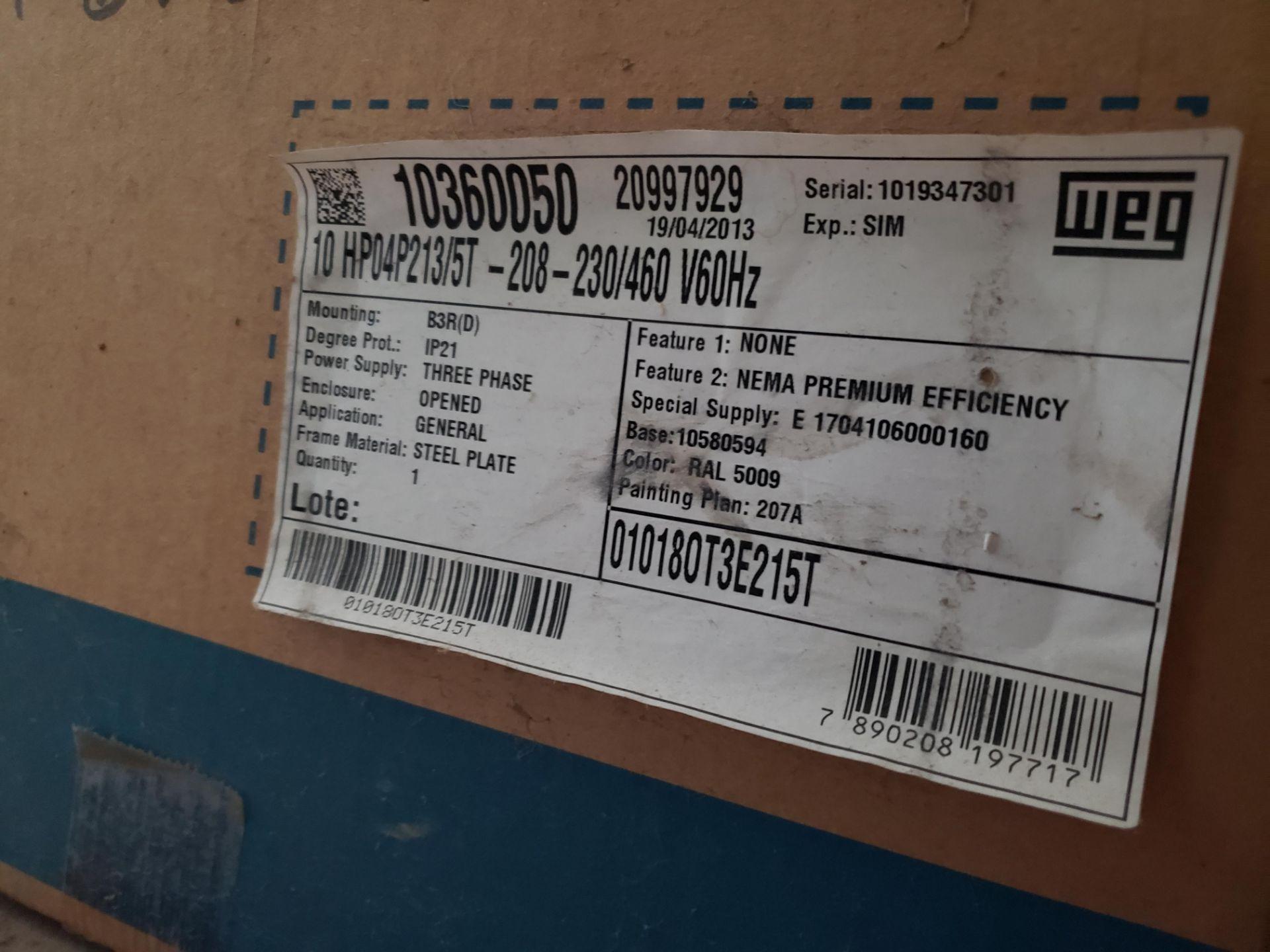 Lot 3 - Lot of (3) WEG Motors, 10 HP | Rig Fee: $25