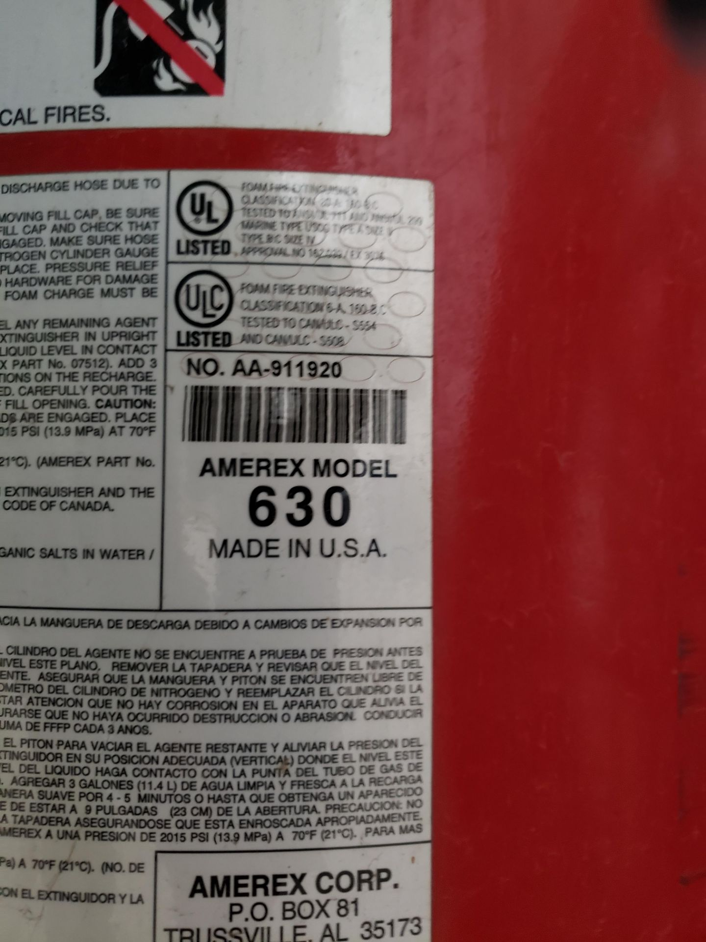 Lot 5 - Amerex Fire Extinguisher, M# 630 | Rig Fee: $25