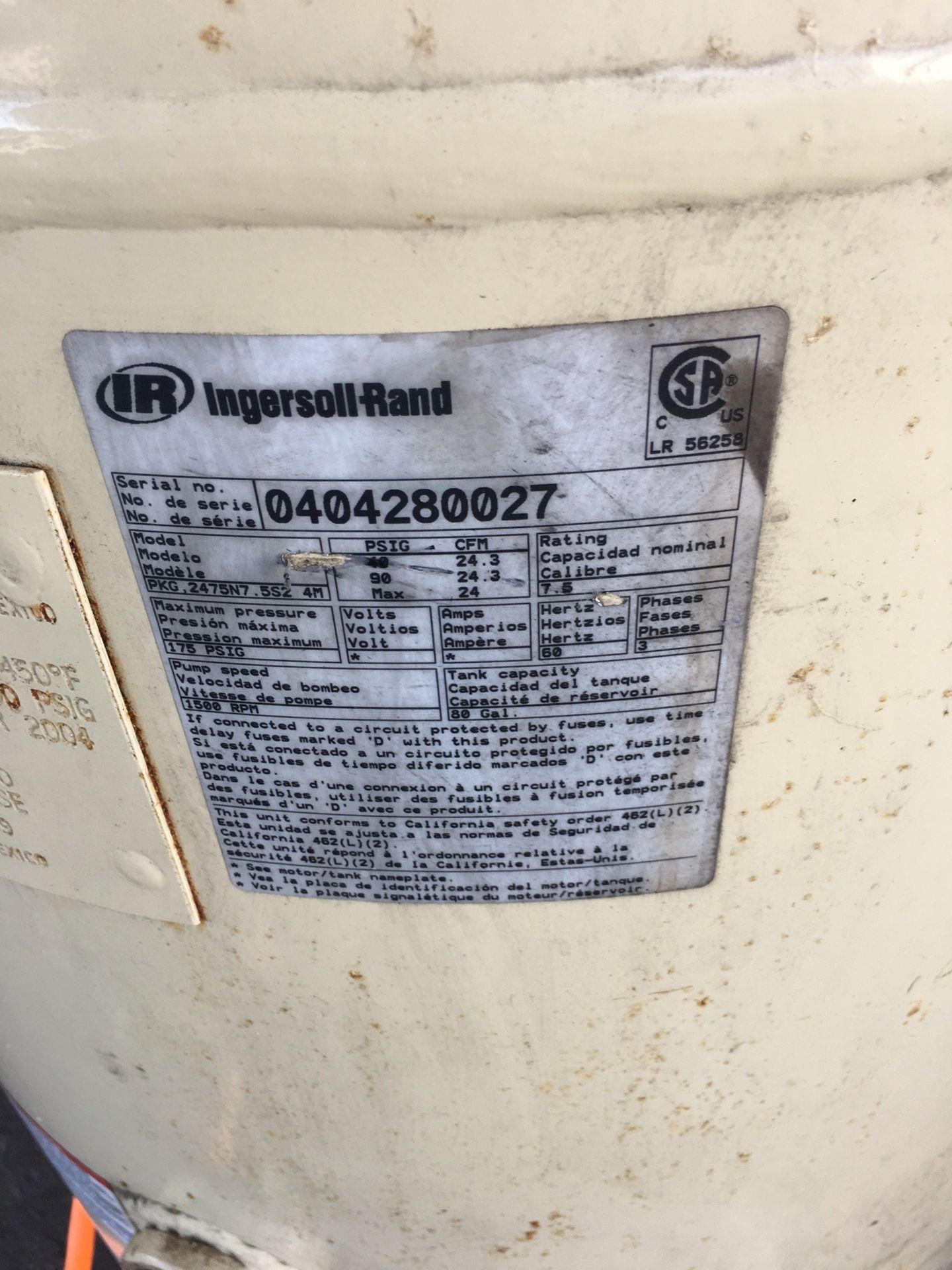 Lot 54 - Ingersoll Rand Model 2475 Reciprocating Compressor, 24 CFM, Max 175 PSIG, 80 Ga   Rig Fee: No Charge