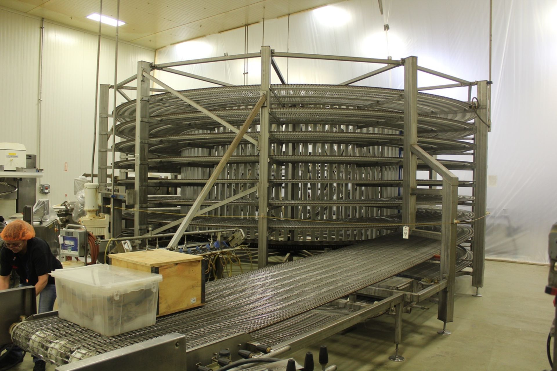 "Lot 14 - 2015 Rebuilt I.J. White Cooling Spiral Conveyor, 50"" Stainless Steel Mesh Belt, 7 
