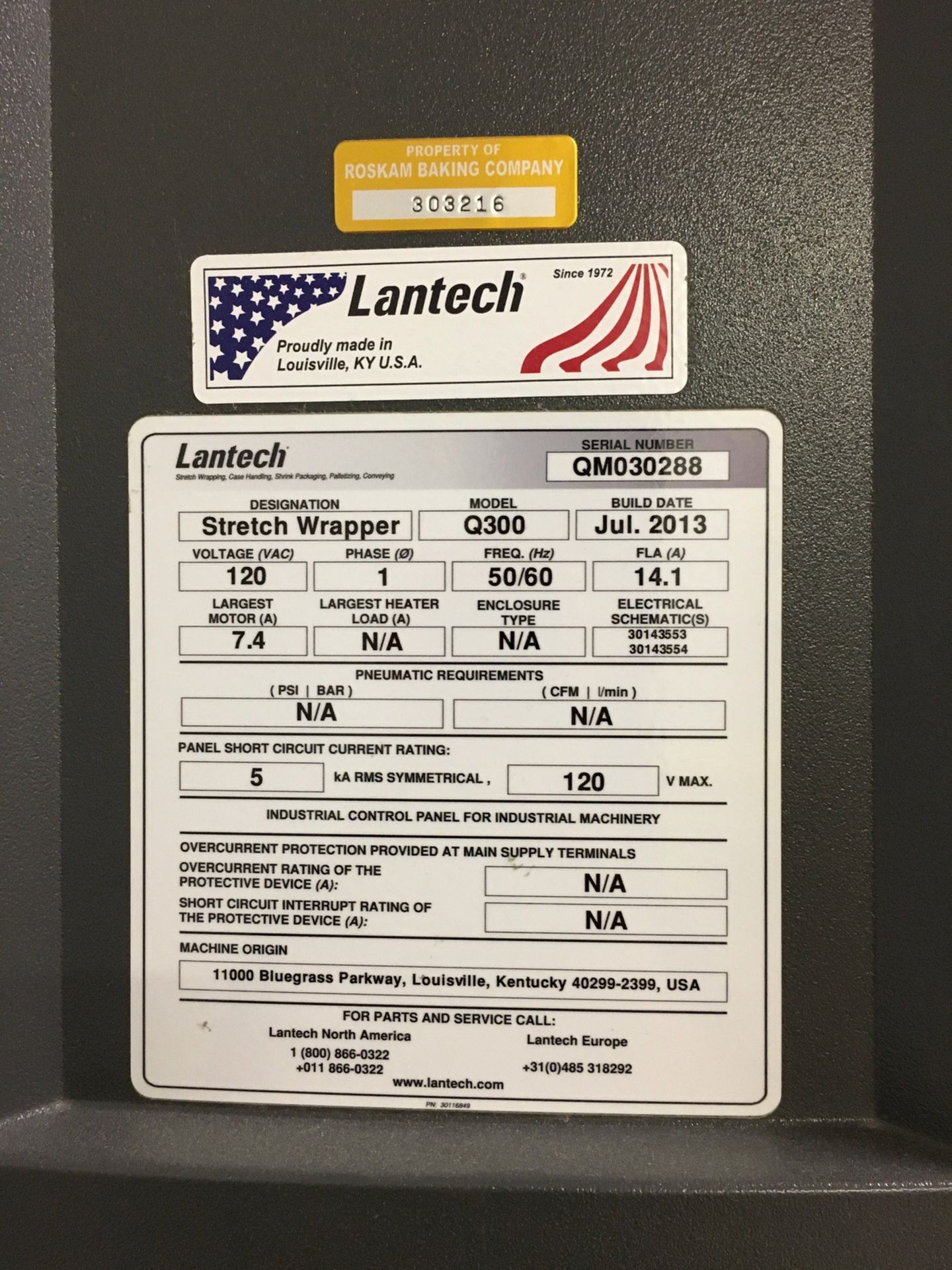 Lot 1W - 2013 Lantech Q300 Stretch Wrapper, 65in Turntable, 10ft Overall Height   Insp by Appt   Rig Fee: 400