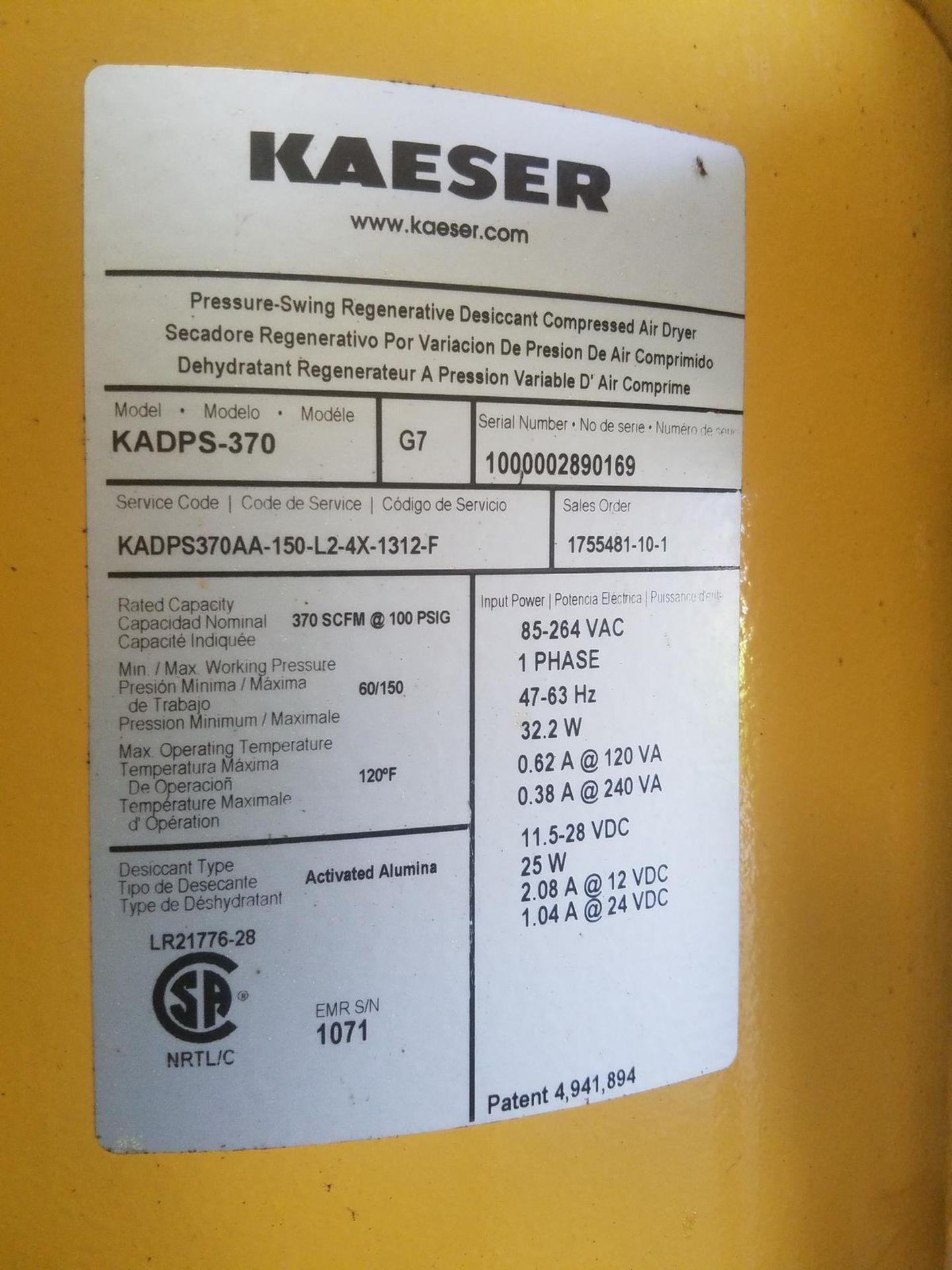 Kaeser Compressed Air Dryer, M# KADPS-370, 370 SCFM at 100 PSIG, 120F Max Operat | Rig Fee: $250 - Image 2 of 3