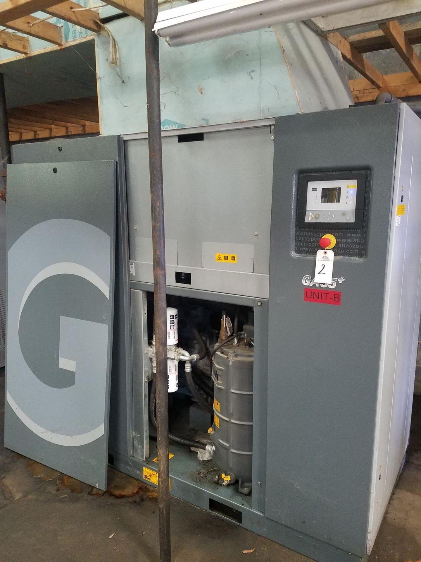 2015 Atlas Copco 75 HP Rotary Screw Air Compressor, M# GA55+, 354 CFM, 132 PSI M   Rig Fee: $1000