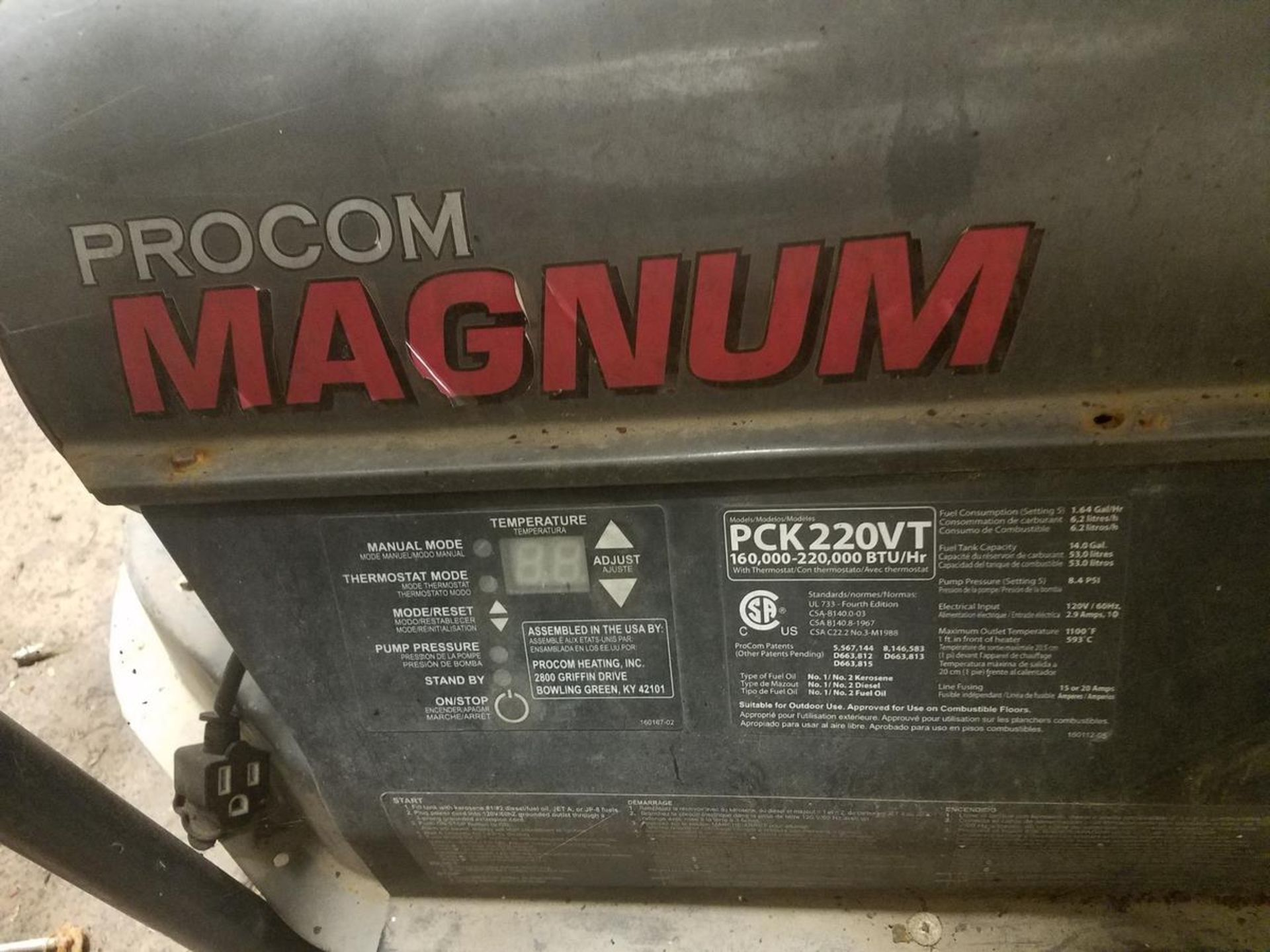 Procom Magnum Oil Fired Heater | Rig Fee: $25 - Image 2 of 2