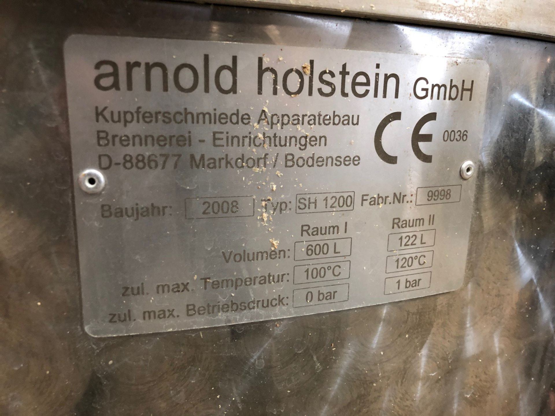 Lot 1 - 2008 Arnold Holstein Type SH1200 600L Still, Heads & Hearts Tank | Sub to Bulk | Rig Fee: $3300