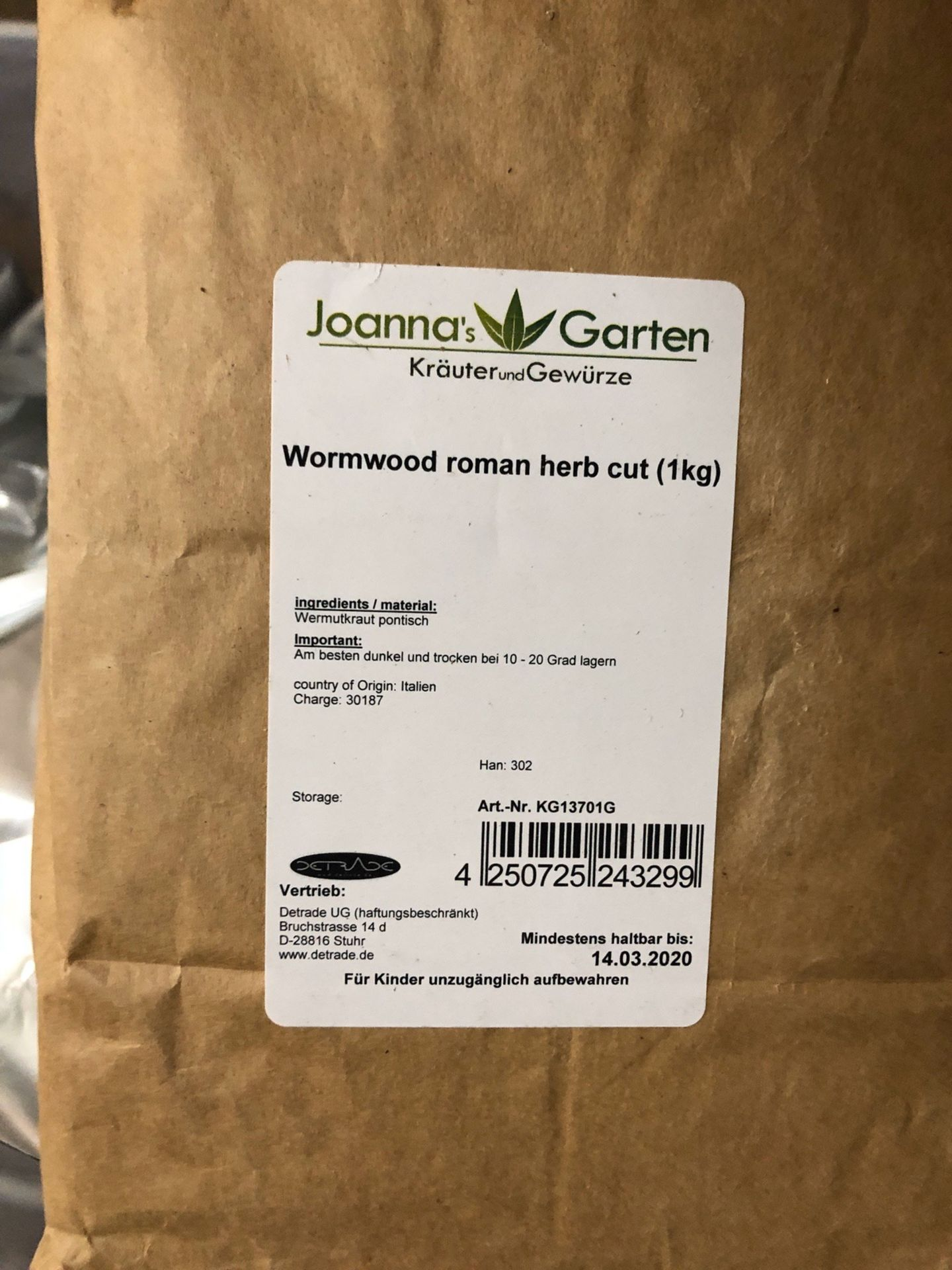 Lot 100 - Lot of Herbs and Botanicals: Wormwood Herbs | Rig Fee: $20 or HC