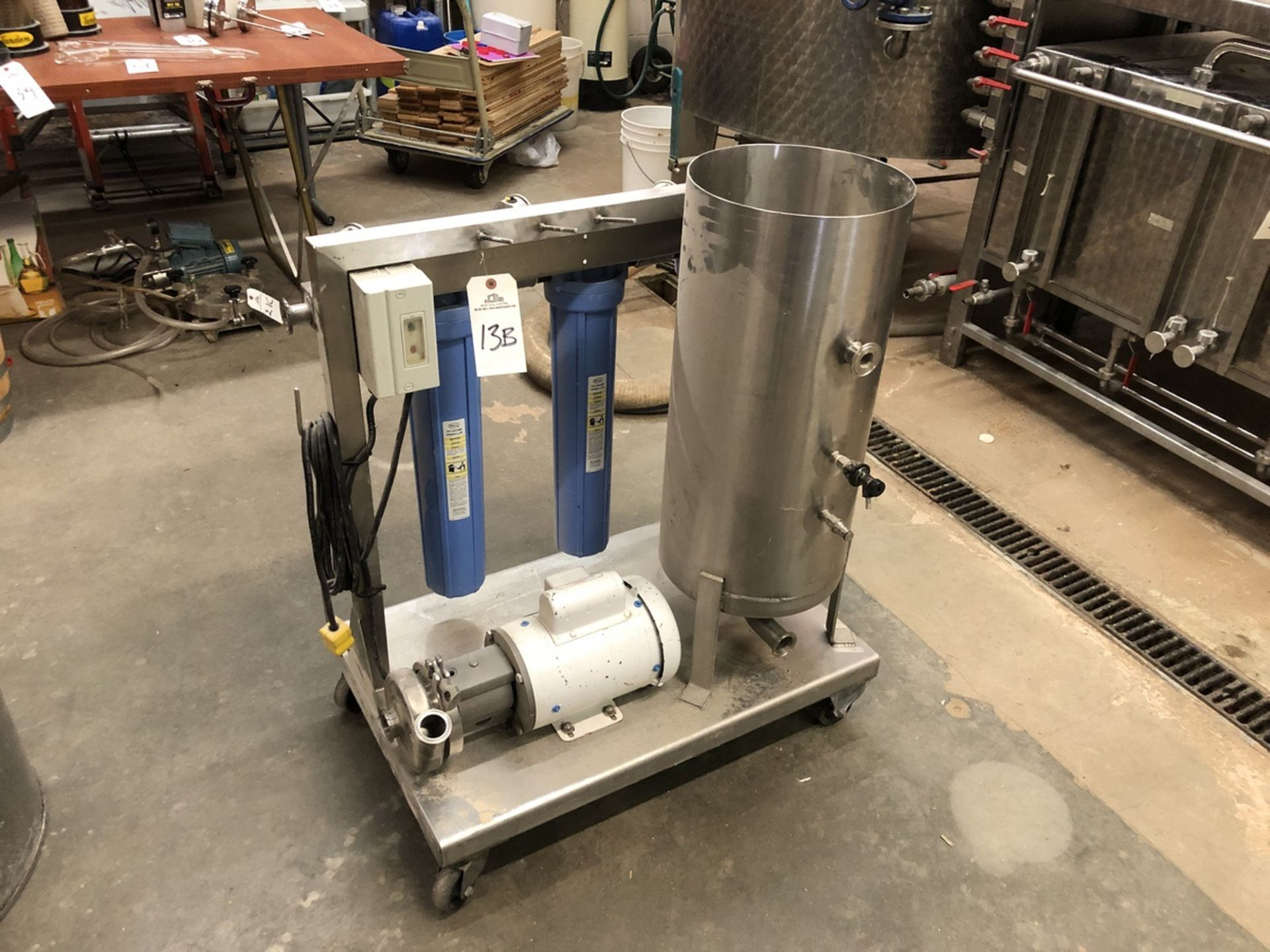 Lot 13B - Stainless Steel Mixing Skid with Centrifugal Pump and Cartridge (Addi | Sub to Bulk | Rig Fee: $50