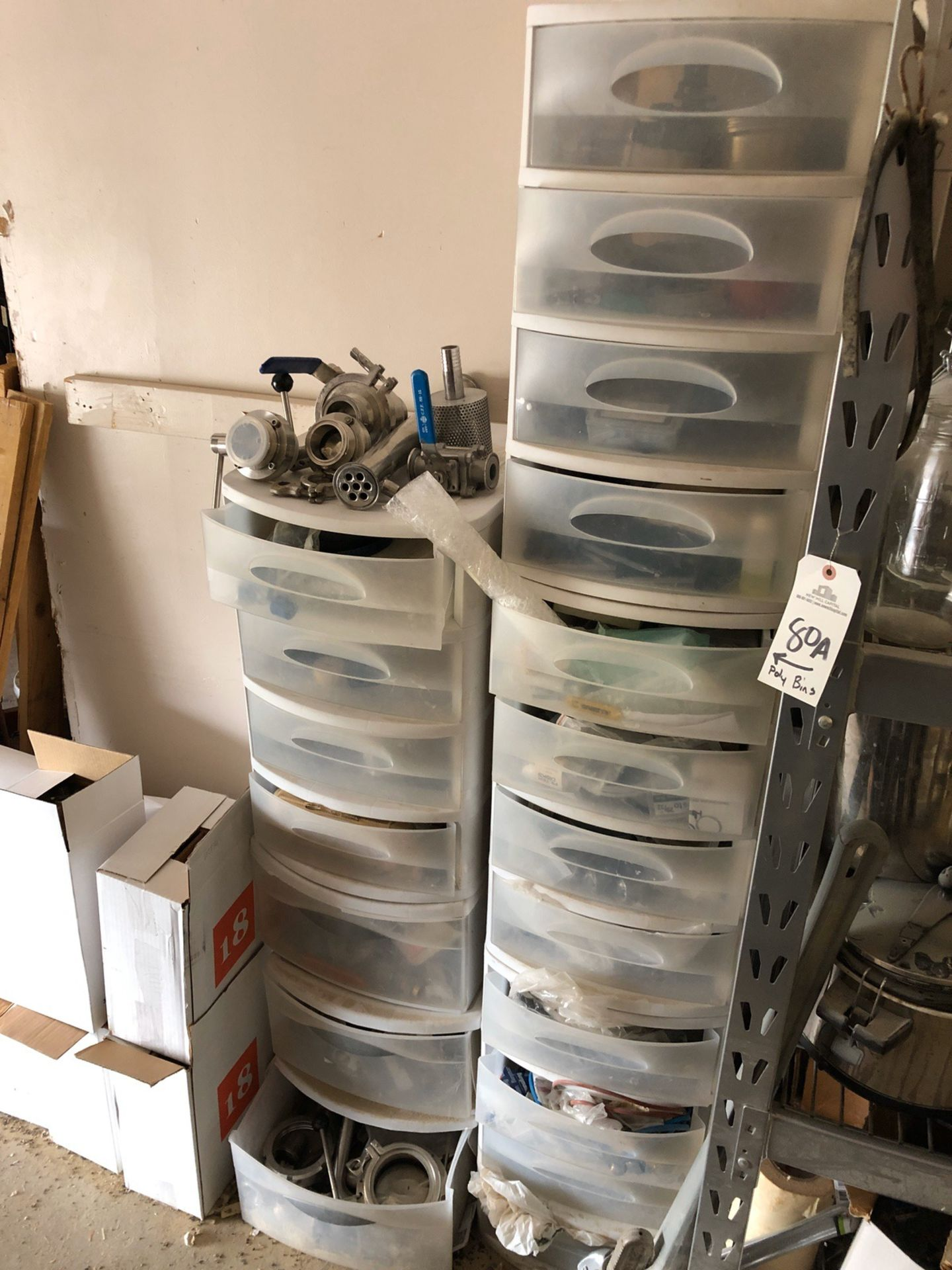 Lot 80A - Plastic Bins and Contents | Rig Fee: $150 or HC