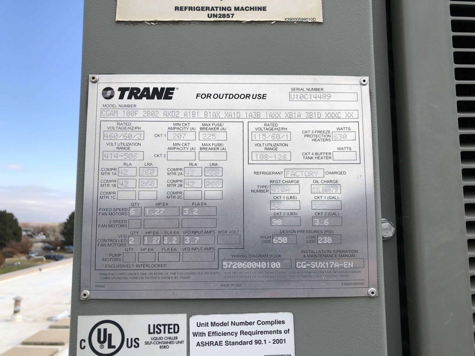 Lot 37 - Trane Model CGAM 100F 100 Rton Glycol Chiller, S/N: U10C14489 | Rig Fee: $1000