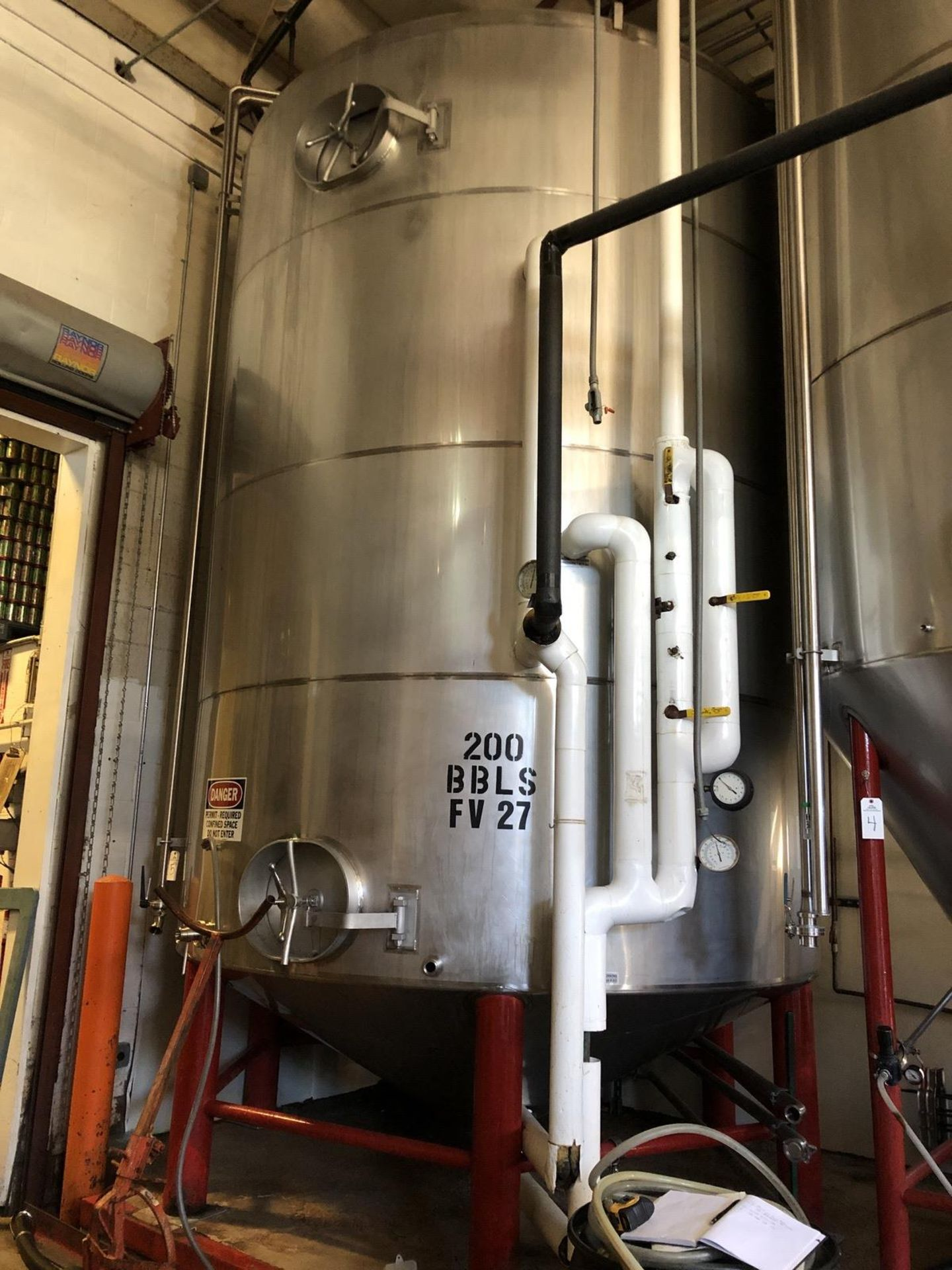 Lot 5 - Santa Rosa 200 BBL Fermenter, Cone Bottom, Glycol Jacketed, Stainless Steel, Approx | Rig Fee: $3300