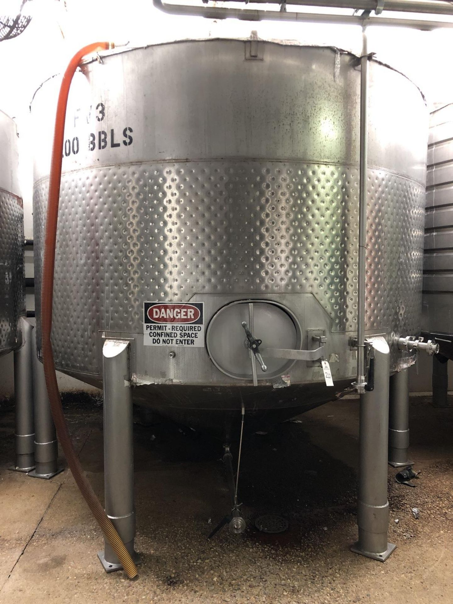 Lot 20 - Santa Rosa 100 BBL Fermenter, Cone Bottom, Glycol Dimple Jacketed, Stainless Steel, | Rig Fee: $2000