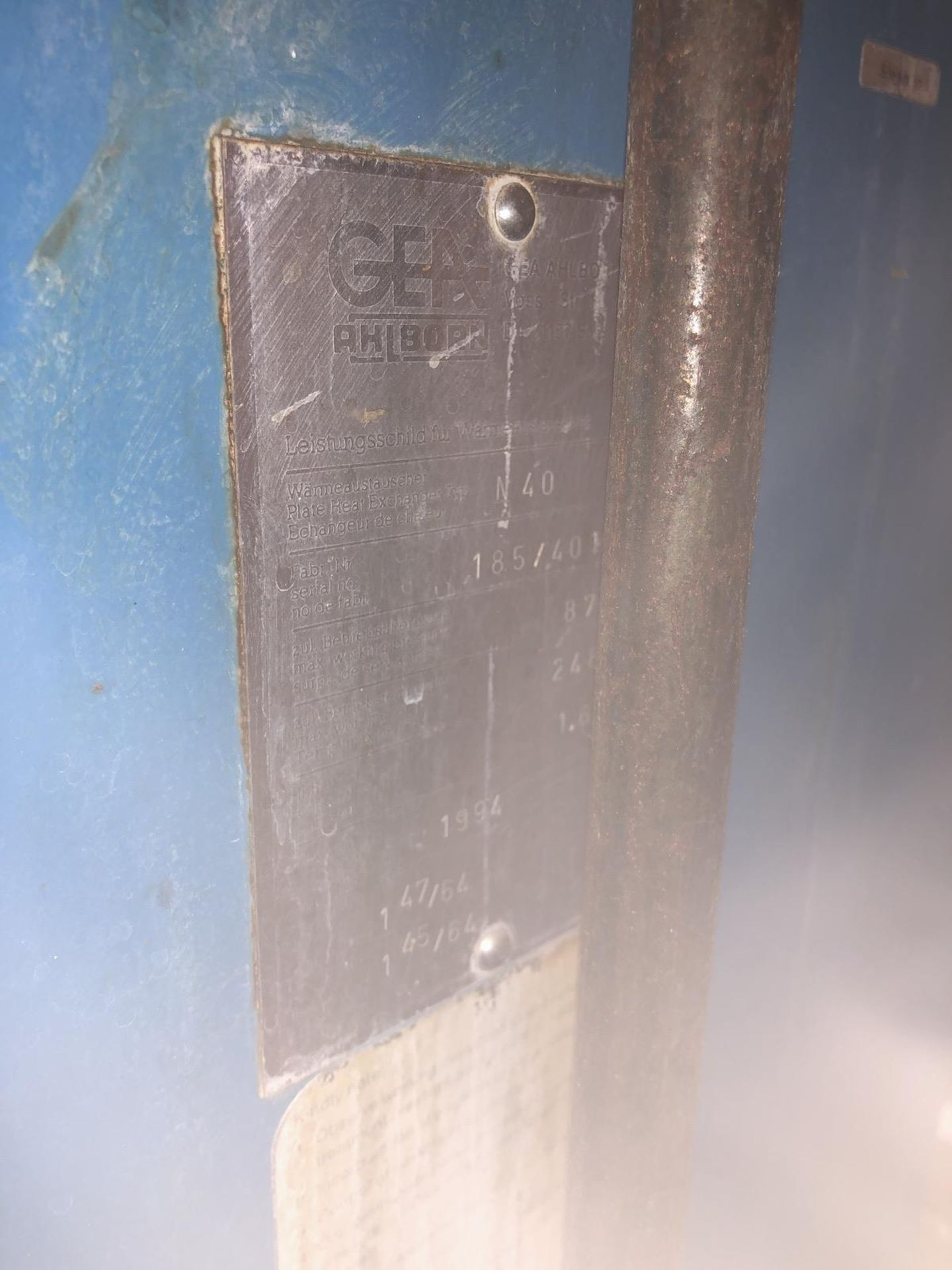 Lot 33 - GEA Plate and Frame Heat Exchanger, Type N40, S/N: 185/401 | Rig Fee: $300