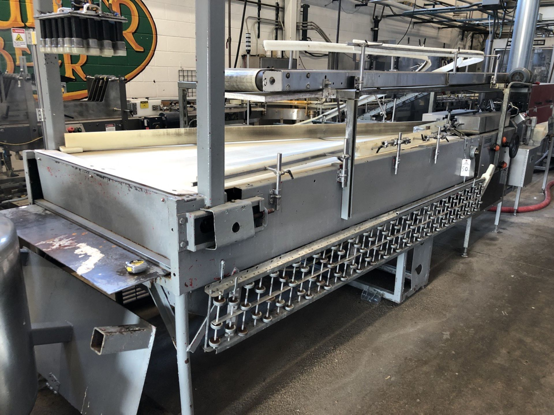 Lot 50 - Accumulation Table, 48in W Belt x 10ft Long, Box Conveyor 12in W x 12 | Sub to Bulk | Rig Fee: $500