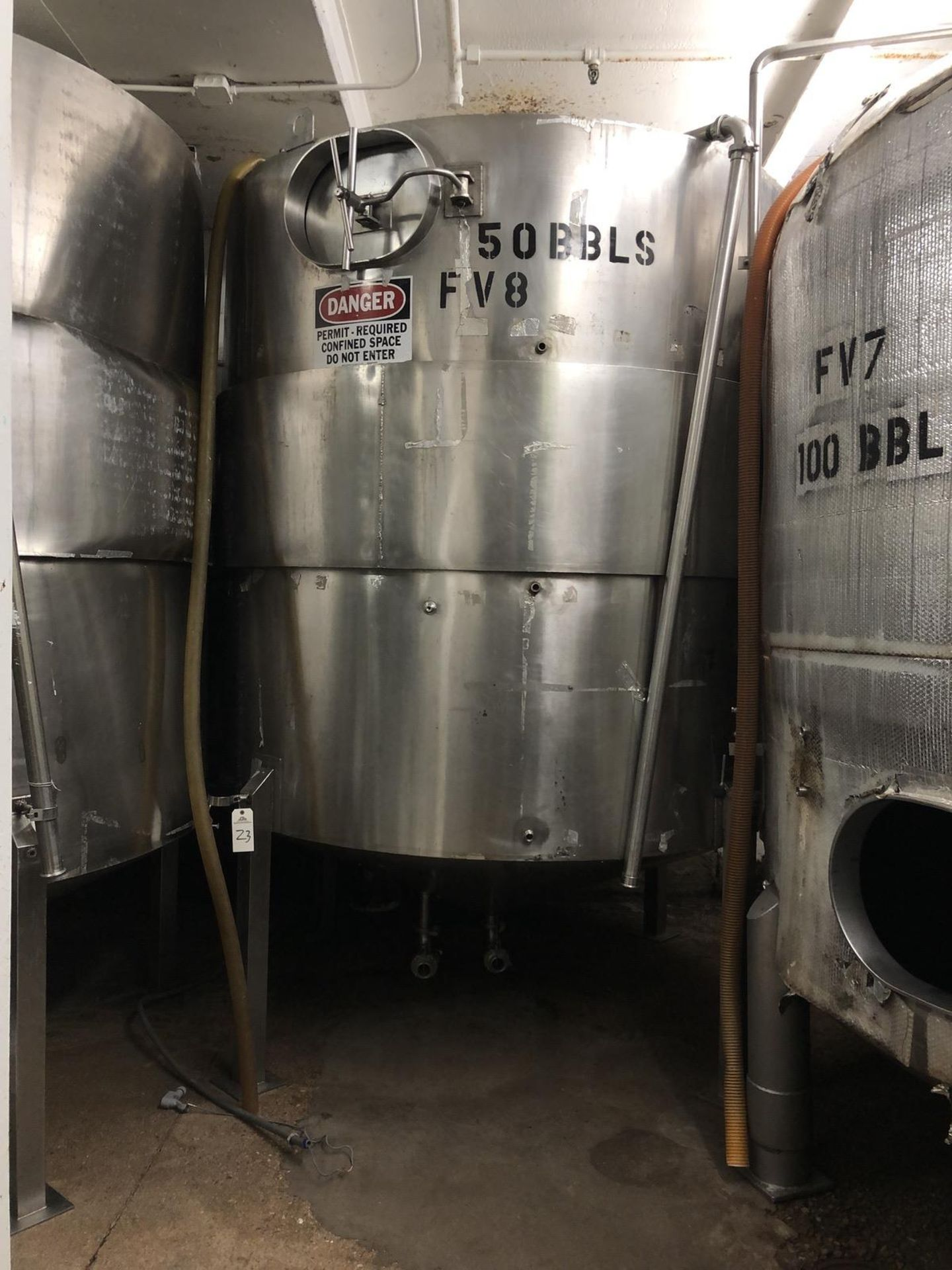 Lot 23 - 50 BBL Fermenter, Cone Bottom, Glycol Jacket Section, Stainless Steel, Approx Dims: | Rig Fee: $1400