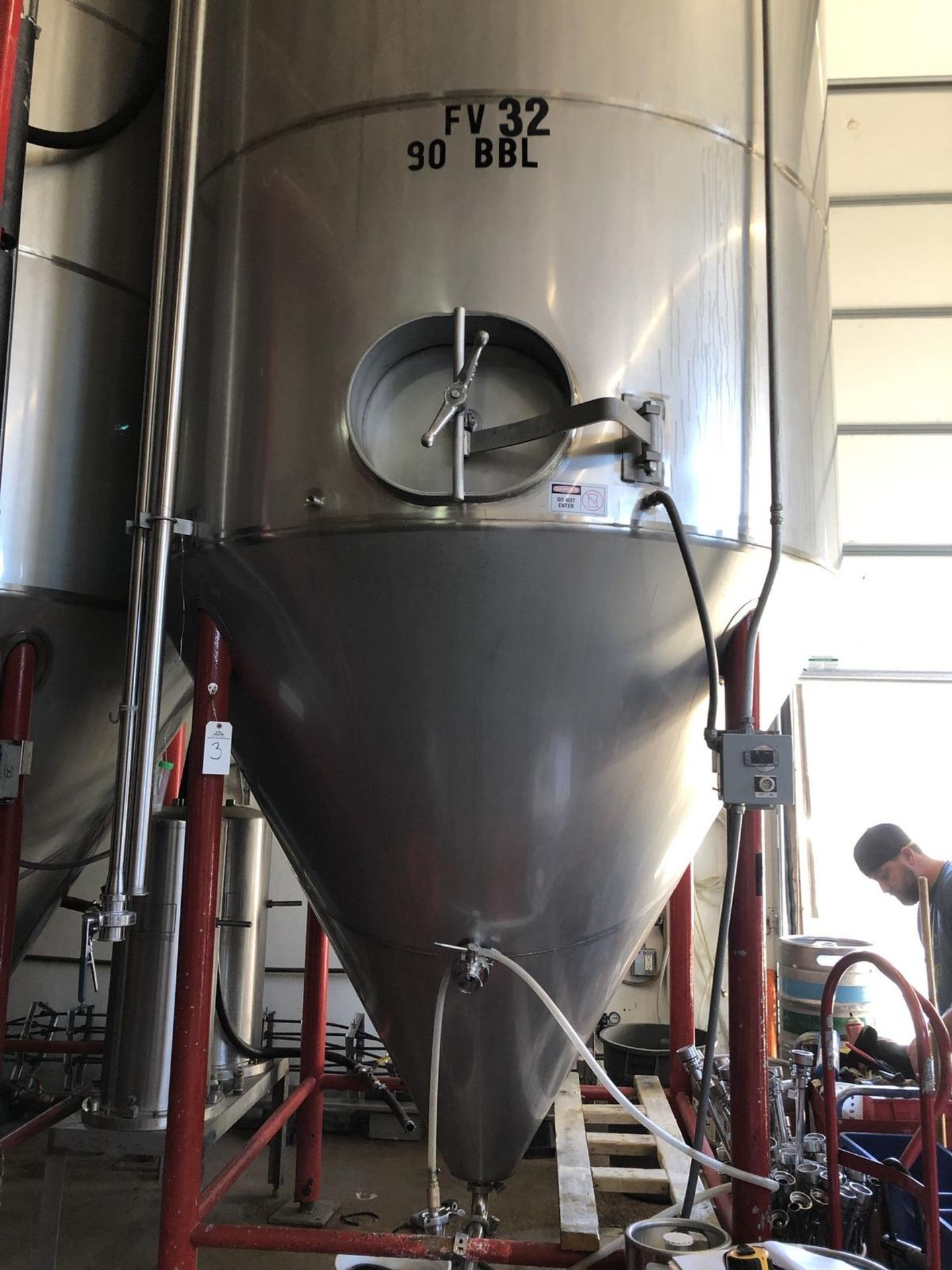 Lot 3 - Santa Rosa 90 BBL Fermenter, Cone Bottom, Glycol Jacketed, Stainless Steel, Approx | Rig Fee: $2500